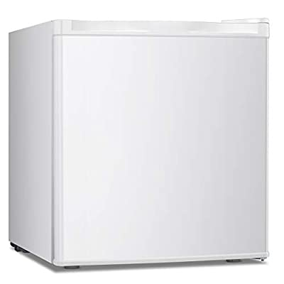 Upright Freezer Lock 1.1 Cubic Feet with Reversible Door Removable Shelves Mini Freezer Adjustable Thermostat Refrigerant for Home Office White (White-1.1cu.ft)