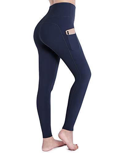 OUGES Damen Sport Leggings Sporthose Lang Yoga Hose High Waist mit Taschen Blickdicht Leggins(A-Marine,L)