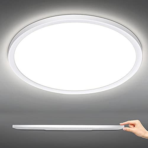 LED Deckenleuchte Bad 18W, 1800 LM LED Deckenlampe Rund Ultra dünn, IP44 Wasserfest LED Badlampe für Badezimmer, Wohnzimmer Kinderzimmer Schlafzimmer Keller Flur Balkon, 4000K Neutralweiß, Ø30cm