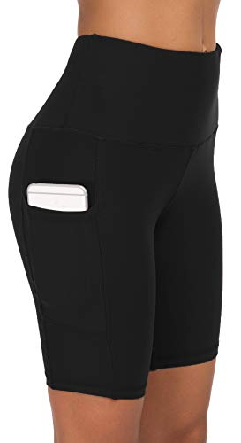 Custer's Night High Waist Out Pocket Yoga Pants Tummy Control Workout Running 4 Way Stretch Yoga Leggings Black M