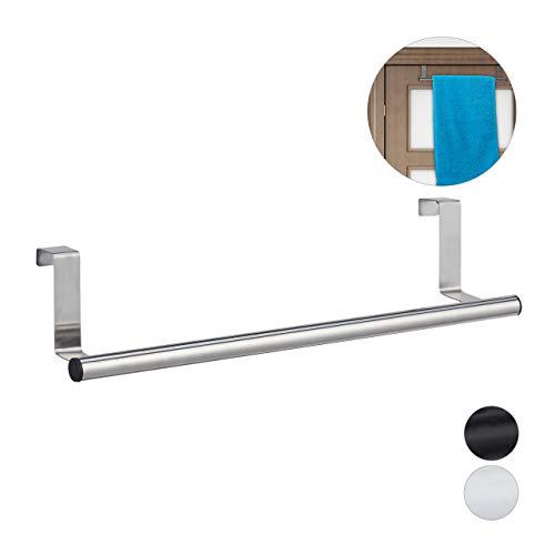 Relaxdays Handdoekhouder voor deur en kast, om op te hangen, roestvrij staal, handdoekstang zonder boren, keuken & badkamer, zilver