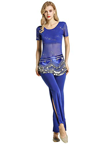 Zengbang Damen Mode Pailletten Kurze Ärmel Top Hosen Set Bauchtanz Indisches Tanzkostüm (Saphir#1(3PCS), Asien L)