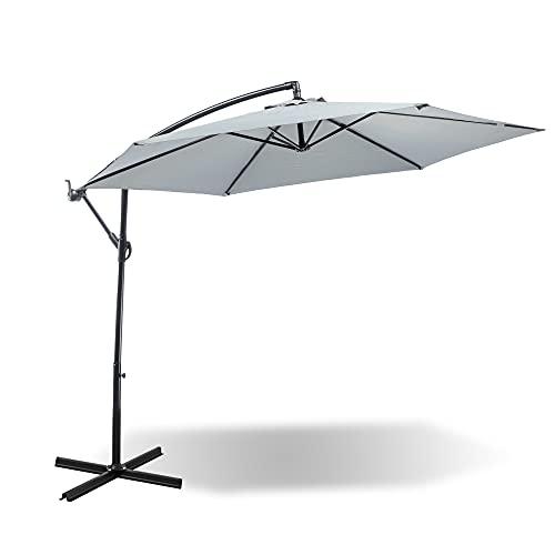 MaxxGarden - Sombrilla de aluminio octogonal reclinable con pie de acero, diámetro 3 x 2,5 m (gris)