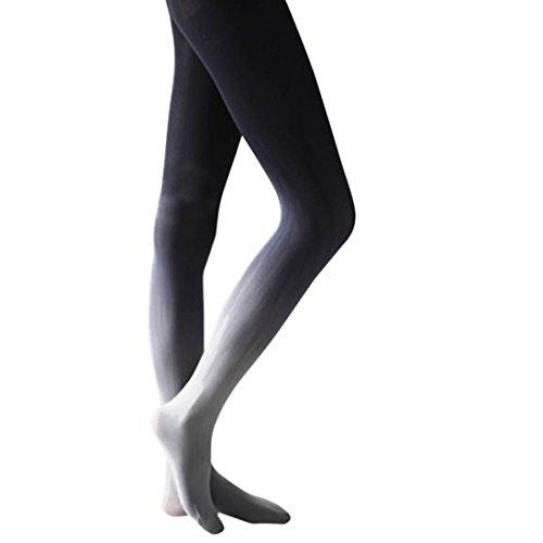 style_dress Damen Frauen Overknee Strümpfe Stützstrümpfe elastische Kniestrümpfe Oberschenkel Hohe StrümpfeFarbverlauf Strumpfhosen Leggings Socken (Grau)