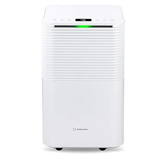 Turbionaire Epi 12 - Deshumidificador portátil, control táctil, 12 L/24 h, refrigerador ecológico R290, función Child Lock, para habitaciones de hasta 65 m³, diseño minimalista