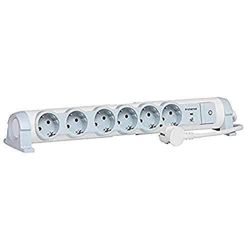Legrand, drehbare Steckdosenleiste mit Überspannunsschutz und Schalter, 6 Steckdosen (6-fach); zur Befestigung an Wand und Tisch, 694656