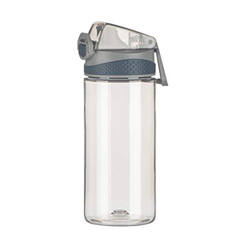 zxb-shop Jarras Botella Prima de Deportes de Agua con Fugas tirón Prueba Tapa Superior, Rosado Claro de plástico Gris Tazas de Agua con Tapa de Bloqueo, botón Portable Jarra de Vidrio