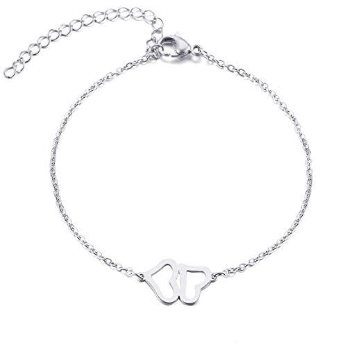 Collares Pulsera de Acero Inoxidable con Doble Corazón para Hombre y Mujer Joya de Compromiso Color Oro y Plata-Plata