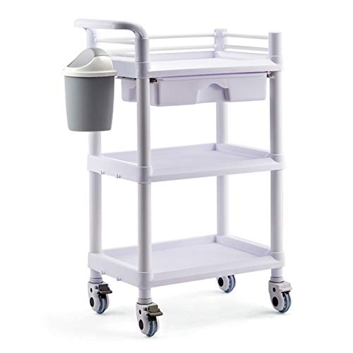 GGBOY 2/3-Tier ABS Utility Cart whith Drawer, Commercial Rolling Service Cart, Ideal for Restaurant, Foodservice, Office, Warehouse