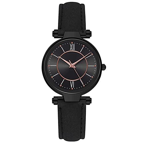 Relojes Reloj De Lujo con Temperamento para Mujer, Esfera De Acero Inoxidable, Correa De Cuero, Reloj De Cuarzo, Reloj Simple Niña, Regalo BK
