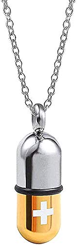 ZGYFJCH Co.,ltd Collar de Moda Collar de Acero Inoxidable Cápsula de Acero de Titanio Colgante Caja de Botella de Perfume Desmontable