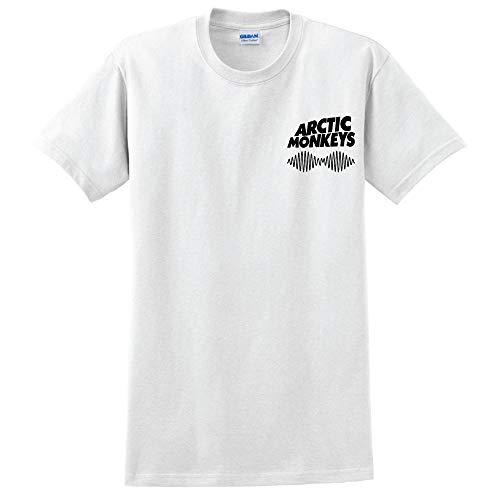 Arctic Monkeys T-Shirt Pocket Print Arctic Monkeys T Shirt Rock Fanshirt Größen (Medium, White)