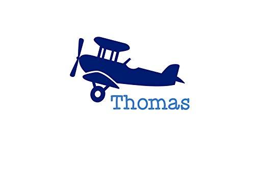 Bügelbild Aufbügler mit Name Flugzeug Plane in Flex, Glitzer, Flock, Effekt in Wunschgröße