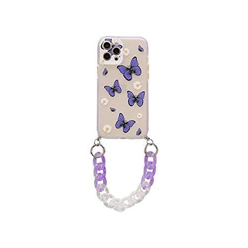 Linda mariposa margarita flor teléfono caso para iPhone 12 mini 11 Pro Max 7 8 Plus SE 2020 X XR XS Max gradiente pulsera suave cubierta BB426-1-For-iPhone11Pro