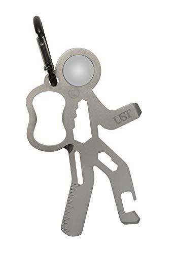 UST Tool-a-Long Mousqueton multifonction avec construction durable et compacte en acier inoxydable pour randonnée, kayak, camping, voyage et survie en plein air, mixte, 20-02761, Silver, taille unique