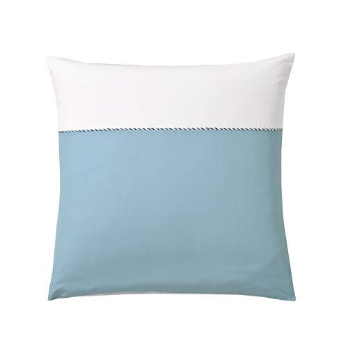 Blanc des Vosges Taie d'oreiller Absolu Aqua 65 x 65 cm, Coton