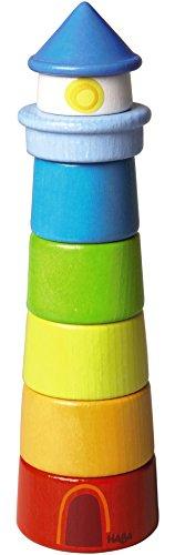 HABA HA-1189 300170 – Stapelspiel Leuchtturm, Motorikspielzeug zum Sortieren von Größen und Farben, Holzspielzeug ab 12 Monaten