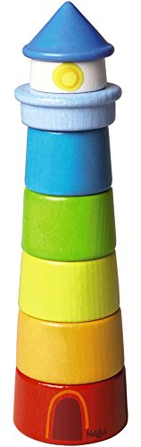 HABA 300170 – Stapelspiel Leuchtturm, Motorikspielzeug zum Sortieren von Größen und Farben, Holzspielzeug ab 12 Monaten