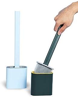 PINGAX RETAIL Silicon Toilet Brush with Slim Holder Flex Toilet Brush Anti-drip Set Toilet Bowl Cleaner Brush, No-Slip Lon...