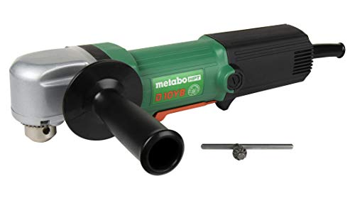 Metabo HPT D10YB 4.6-Amp 3/8' Right Angle Corded Drill, 3-1/4' Low Profile Head, 500-2300 Rpm, Removable Side Handle, Contractor-Grade Cast Aluminum Gear Housing, 5-Year Warranty
