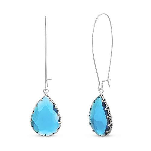 Devin Rose Long French Wire Teardrop Dangle Earrings for Women in Rhodium Plated Brass ( Blue )