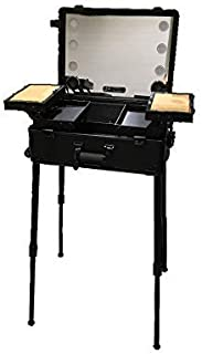 Jula Vance Makeup Train Suitcase with Built-in Lights & 3 Light Colors & Omni-Direction Wheels Lighted Rolling Travel Cosmetic Organizer, Professional Artist Trolley Studio Free Standing (Black)