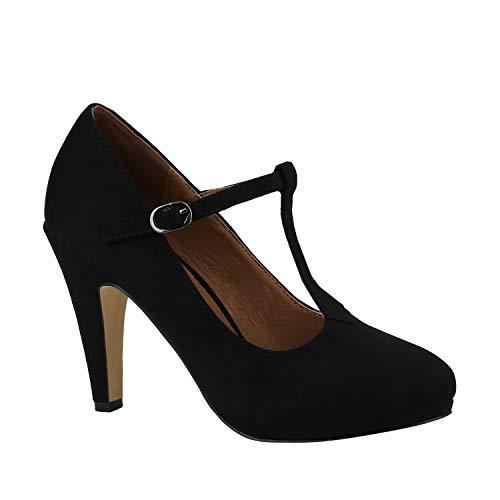 Stiefelparadies Damen Pumps Mary Janes Veloursleder-Optik High Heels Blockabsatz Schwarz T-Strap 37 Flandell