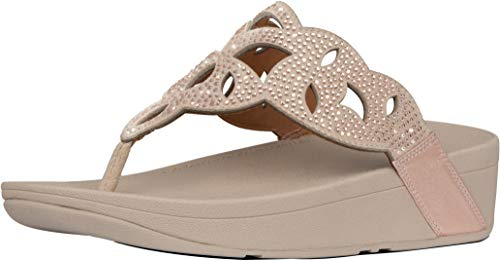 FitFlop Womens Elora Crystal Toe Thong Sandal Shoes, Rose Gold, US 8