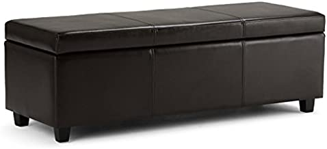 SIMPLIHOME Avalon 48 inch Wide Rectangle Lift Top Storage Ottoman Bench in Upholstered Tanners Brown Faux Leather with Large Storage Space for the Living Room, Entryway, Bedroom, Contemporary