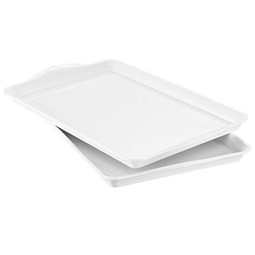 i BKGOO Foodservice - Juego de 2 platos rectangulares de melamina para fiestas, mesa de café, cocina (38,6 x 24,1 x 2,5 cm)