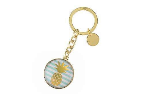 Gift Company 72884 Cabochon - Schlüsselanhänger Ananas - Gold - Metall - Kunstharz 10 x 3,5 cm