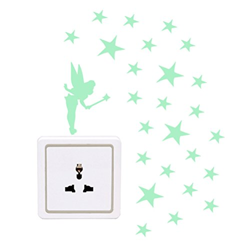 WINOMO 3 x Leuchtaufkleber für Steckdose Lichtschalter Sticker Wandtattoo Elfe Fee fluoreszierend