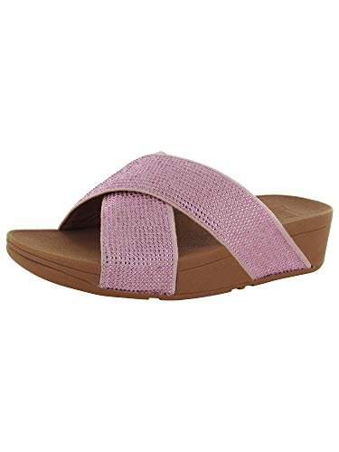 FitFlop Womens Ritzy Micro Crystal Slide Sandal Shoes, Dusky Pink, US 6
