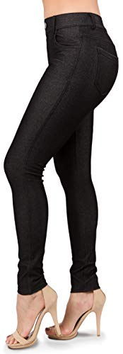 Ylluo Jean Look Leggings Women's Jeggings Pants (Medium, Black)