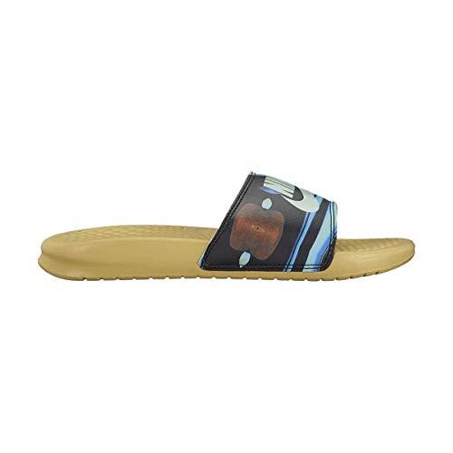 NIKE Women's Benassi Just Do It. Sandal nk618919-700 (Buff Gold/Igloo-Buff Gold, 10 B(M) US)