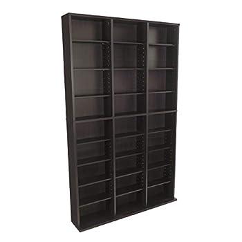 Atlantic Oskar Adjustable Media Cabinet - Holds 1080 Cds 504 DVDs or 576 Blu-Rays/Games 30 Adjustable and 6 Fixed Shelves PN38435714 in Espresso