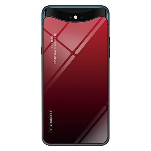 LEDOWP Gehärtetes Glas Hülle für Oppo FIND X Hülle, Weich Silikon Stoßstange [Stoßdämpfend] mit [Anti-Scratch] Gradient 9H Hard Glas Back Schutzhülle Hülle -Rot schwarz