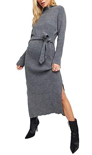 janisramone Vestido midi de manga larga con abertura lateral para mujer, para fiesta de invierno