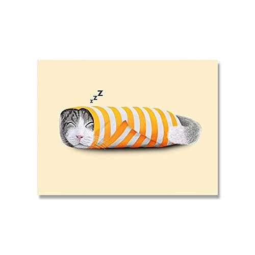 キャンバスポスター 漫画かわいい猫の紙のポケット靴の靴下の壁アートキャンバス絵画動物ポスタープリント写真リビングキッズルーム家の装飾 (Color : A, Size : 50x70cm No Frame)