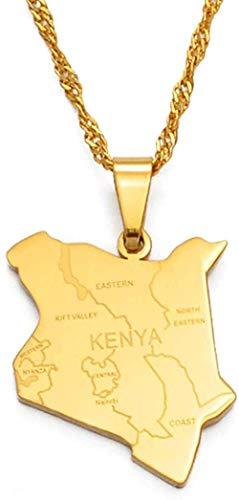 Zaaqio Collar Mapa de Kenia y Nombre de la Ciudad Collares Pendientes Joyería Color Dorado Mapa Africano Joyería Kenia Mapa Kenia