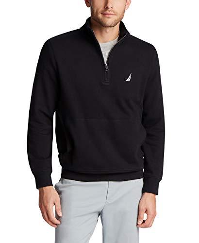 Nautica Men's Classic Fit Quarter-Zip Fleece Pullover, True Black, X-Large