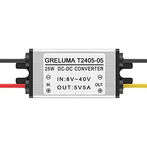 Greluma 1 Pc DC 12v 24v à 5v Convertisseur Abaisseur Régulateur 5A 25W Adaptateur Secteur Réducteur pour Voiture électronique Camion Véhicule Bateau Système Solaire (Entrées DC 8-40V)