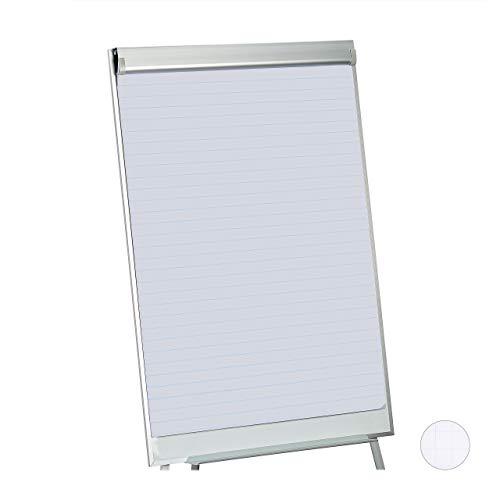 Relaxdays Flipchart Papier, liniertes Moderationspapier, Block à 50 Blatt, 60 g/m², 6-fache Lochung, 57,5 x 81 cm, weiß, 1 Stück