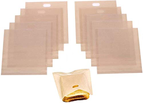 Stephanie Lane - Non-Stick Reusable Toaster Bags (Set of 10) Various Sizes, Create Grilled Cheese Sandwiches in Toaster, Microwave Oven or Grill, Pizza Panini & Garlic Bread