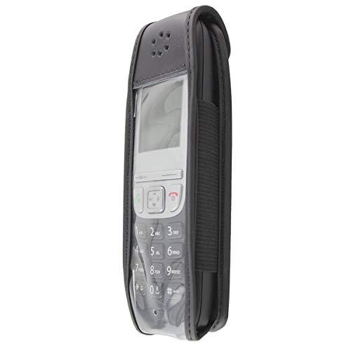 caseroxx Hülle Ledertasche mit Gürtelclip für Gigaset A415 / A415A aus Echtleder, Tasche mit Gürtelclip und Sichtfenster in schwarz