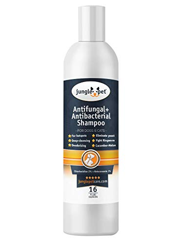 Jungle Pet Antifungal + Antibacterial Shampoo for Dogs & Cats with Ketoconazole & Chlorhexidine - Use for Ringworm, Hot Spots, Itch & Irritation -16oz, pink (JP1005)