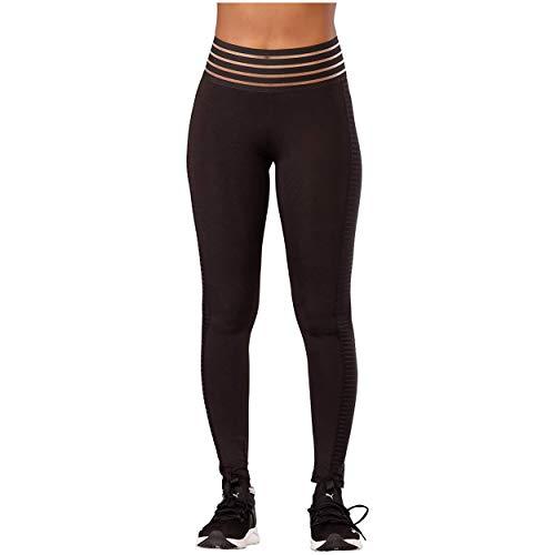 Glook Leggings de Cintura Alta para Mujer | Leggings elásticos de Gimnasio sin Costuras con Control de Barriga | Leggings Deportivos con un diseño Recortado único | Negro, Tamaño: 36