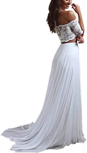 Megan 2 Stück Boho Damen Chiffon Strand Spitze Brautkleider Hochzeitskleider für die Braut Sweep Zug mit Schleppe Standesamt Lang Grosse grössen