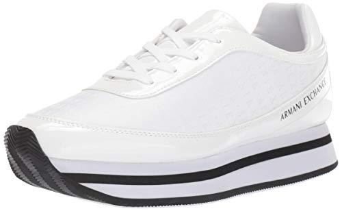Armani Exchange Damen Nylon lace up Sneaker, Weiß (White+ White A222), 41 EU