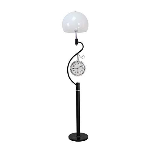 & Daglicht staande lamp metalen vloerlamp met wandklok, moderne LED-energiebesparing, verticaal licht voor woonkamer, slaapkamer, nacht staande lamp